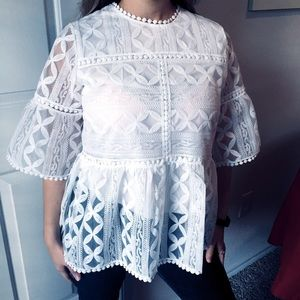 Chicwish Lace Organza Dolly White Blouse Top